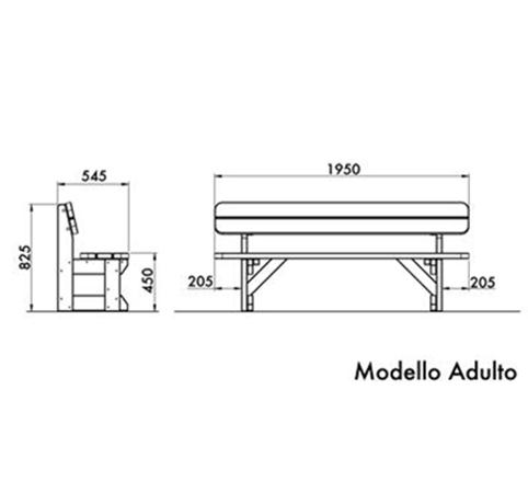 Misura Standard Letto Adulti.Panchina In Legno Di Pino Nordico Pe0214x Dimensione Comunita S R L