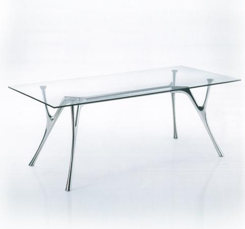 Tavolo in acciaio con piano in cristallo tr40001 for Tavoli in cristallo e acciaio